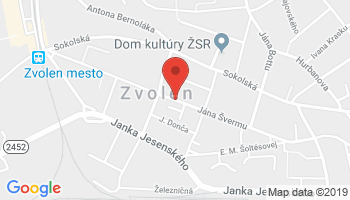 Google map: J. Švermu 1565/44, 960 01 Zvolen